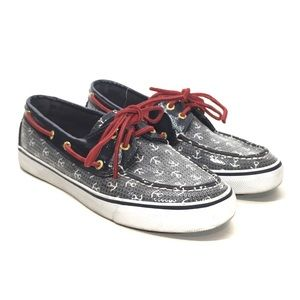 Sperry Top-Sider Nautical Anchor Sequin Boat Shoes